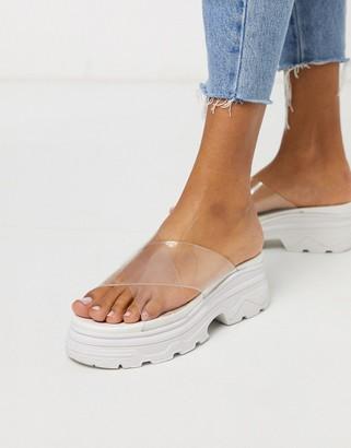 Public Desire Elma chunky sporty mule sandals in white