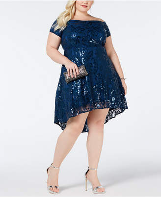 Morgan & Company Plus Size Sequin Lace High-Low Dress