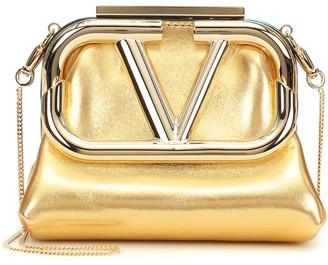 Valentino Supervee Mini metallic leather clutch
