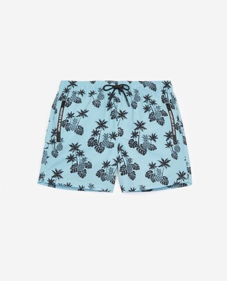 The Kooples Blue printed swim shorts with tropical motif