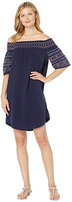 Tribal Soft Woven Off Shoulder Embroidery Dress (Nautical) Women's Dress