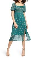 ALL IN FAVOR Smocked Bodice Print Chiffon Dress