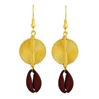 Aflé Bijoux Afle Bijoux Akan Cowrie Shells Earrings - Burgundy