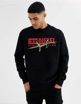 Diesel S-Bay-BX5 logo wire band graphic sweatshirt in black