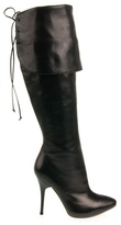 Alexander McQueen Leather boots with fold-down top