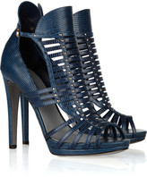 Sergio Rossi Studded lizard-effect leather sandals
