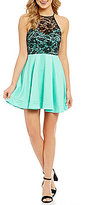 B. Darlin Color Block High-Neck Open-Back Lace-Bodice Fit-and-Flare Dress
