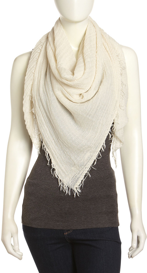 Michael Stars Oversized Crinkled Voile Square Scarf, White