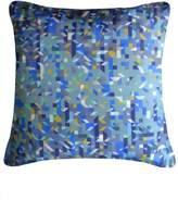 House of Fraser Nitin Goyal Pixaliated Triangles Printed Silk in Teal 45x45