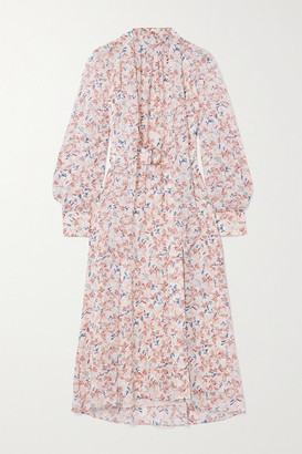 Chloé Tie-detailed Floral-print Silk Crepe De Chine Midi Dress - White