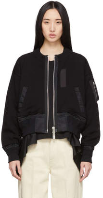 Sacai Black Knit Combo Bomber Jacket