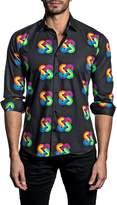 Jared Lang Long Sleeve Infinity Trim Fit Woven Shirt