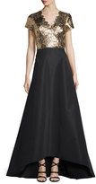 Pamella Roland Metallic Combo Gown w/Silk Faille Skirt, Black