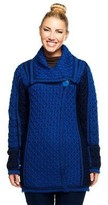 Aran Craft Merino Wool Colorblock One Button Long Cardigan