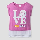 Emoji Girls' Emoji Love Peasant Top - Lilac