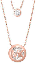 Michael Kors Crystal Logo Double Row Pendant Necklace, Exclusively at Macy's