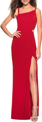 La Femme High Slit Strappy Back Gown