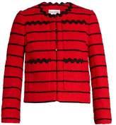 Sonia Rykiel Striped cotton-blend tweed cropped jacket