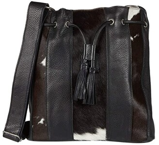 STS Ranchwear Cowhide Bucket Bag (Cowhide/Black) Handbags