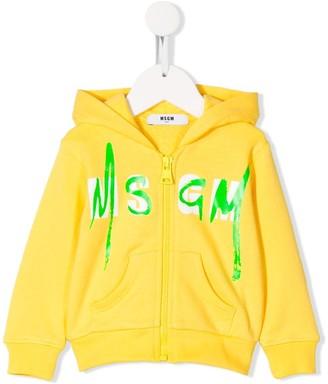 Msgm Kids Zipped Logo Print Hoodie