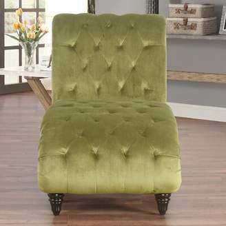 House of Hampton Atkin Tufted Velvet Chaise Lounge House of Hampton Upholstery Color: Olive Velvet