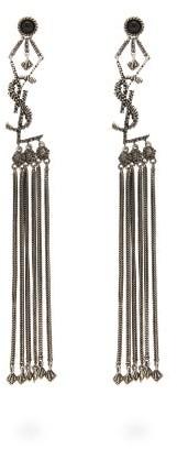 Saint Laurent Tasseled Logo Earrings - Womens - Silver