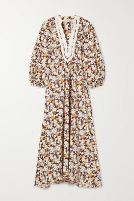 Tory Burch - Grosgrain-trimmed Floral-print Cotton Midi Dress - Brown