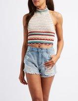 Charlotte Russe Crochet Mock Neck Crop Top