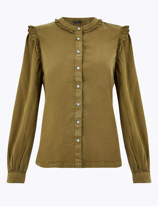 M&S CollectionMarks and Spencer Tencel Ruffle Blouse