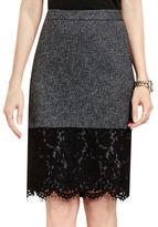 Vince Camuto Petite Lace Hem Tweed Pencil Skirt
