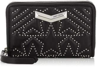 Jimmy Choo LEA Black Star Matelasse Nappa Leather Medium Zip Around Wallet