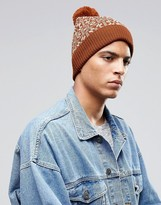Asos Bobble Beanie In Tobacco Fairisle