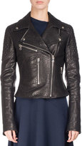 Proenza Schouler Textured Leather Motorcycle Jacket, Black