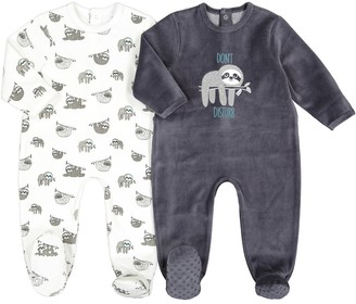 La Redoute Collections Pack of 2 Velour Sleepsuits with Sloth Print, Birth-3 Years