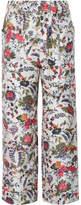 Tory Burch Gabriella Cropped Printed Silk-satin Wide-leg Pants