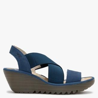 Fly London Yaji Blue Leather Elasticated Cross Strap Wedge Sandals