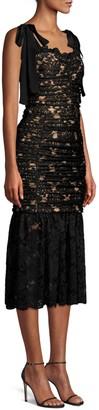Rebecca Vallance Betty Ruched Lace Sheath Dress