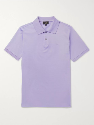Dunhill Logo-Embroidered Cotton-Pique Polo Shirt - Men - Purple
