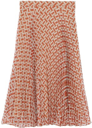 Burberry Monogram Print Chiffon Pleated Skirt