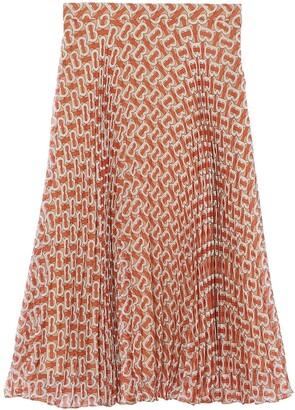 Burberry Monogram Print Pleated Skirt