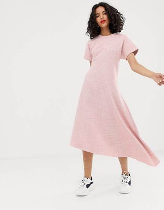 Asos pink textured short sleeved midi dress