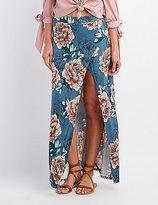 Charlotte Russe Floral Wrap Slit Maxi Skirt
