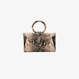 Valery cream and black python effect leather cross body bag