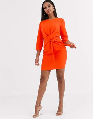Asos Design DESIGN tie wrap around mini dress-Orange