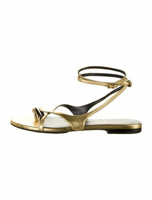 Saint Laurent Patent Leather Wrap-Around Sandals Gold