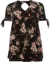 River Island Womens Black floral print tie sleeve playsuit
