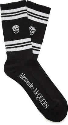 Alexander McQueen Striped Rib-Knit Cotton-Blend Socks Size: S/M