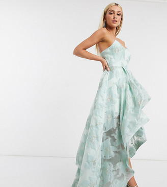 Bariano exclusive organza high low dress in mint floral