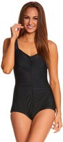 Maxine Solids Tricot Shirred Girl Leg One Piece Swimsuit 8150287