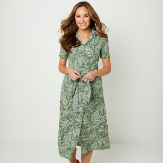Joe Browns Buttoned Shirt Midi Dress in Floral Print with Tie-Front and Short Sleeves